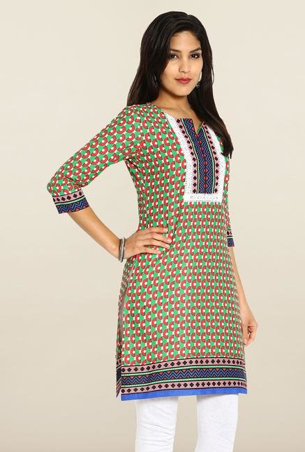 Soch Red & Green Cotton Kurta