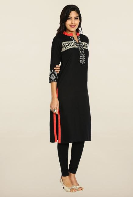 Soch Black Embroidered Kurta