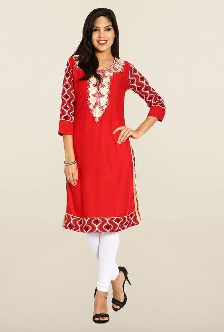 Soch Red & Beige Cotton Kurta