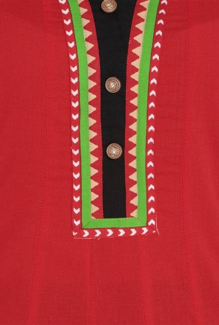 Soch Red Cotton Anarkali Kurta