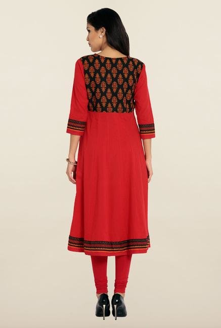 Soch Red & Black Cotton Anarkali Kurta