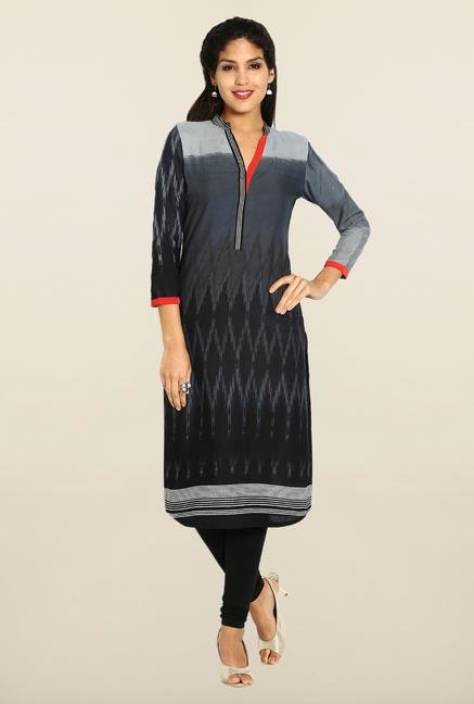 Soch Grey & Black Printed Kurta