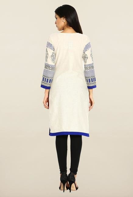 Soch Cream & Royal Blue Printed Kurta