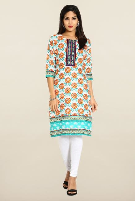 Soch Orange & Light Green Cotton Kurta