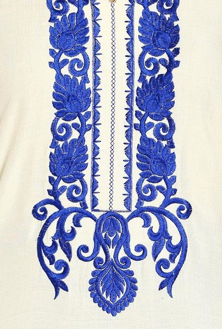 Soch Cream & Royal Blue Embroidered Kurta