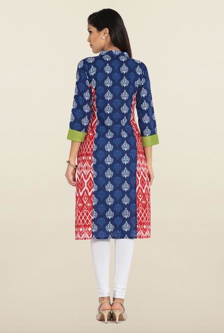 Soch Indigo & Red Cotton Kurta