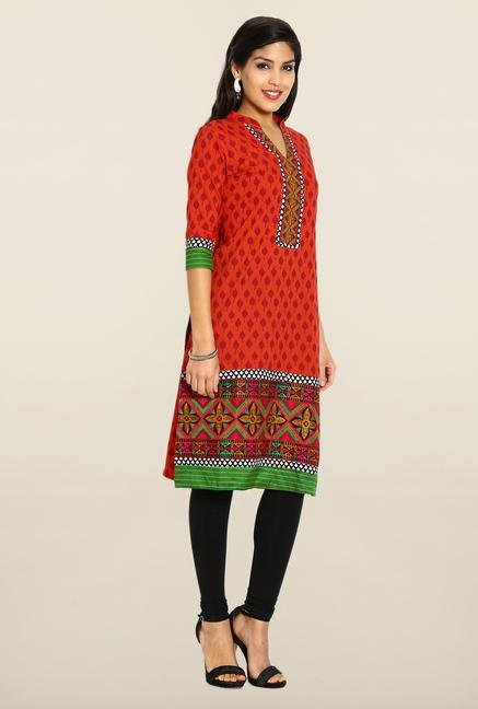 Soch Red Cotton Kurta