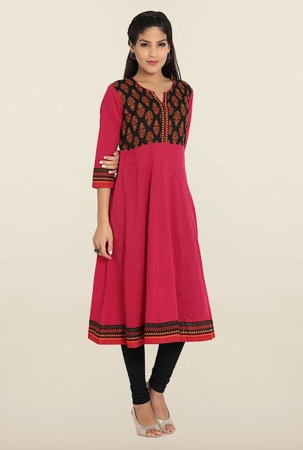 Soch Pink & Black Cotton Anarkali Kurta