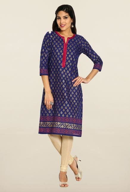 Soch Royal Blue & Gold Cotton Kurta