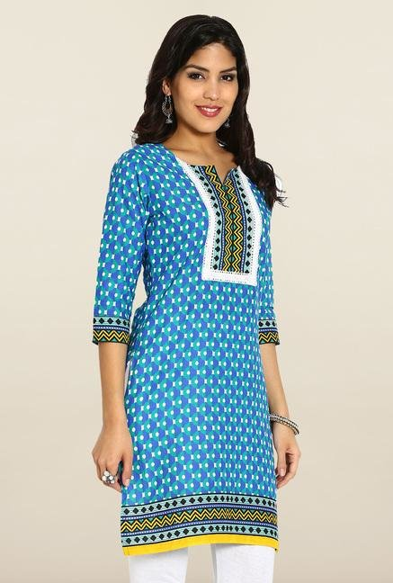 Soch Royal Blue & Green Cotton Kurta