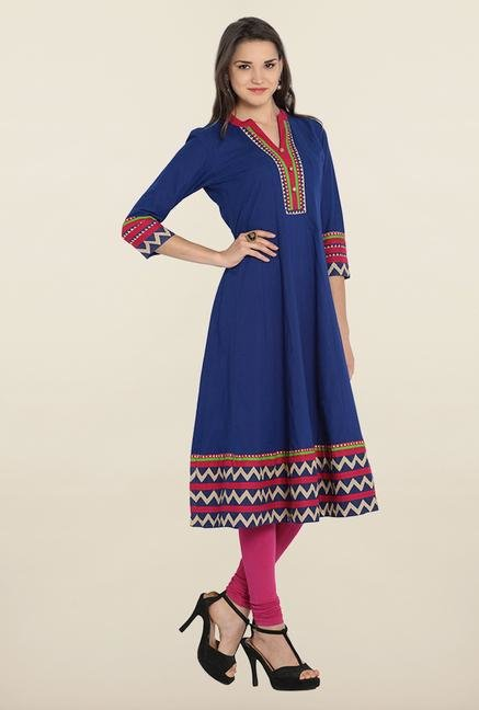 Soch Royal Blue Cotton Anarkali Kurta
