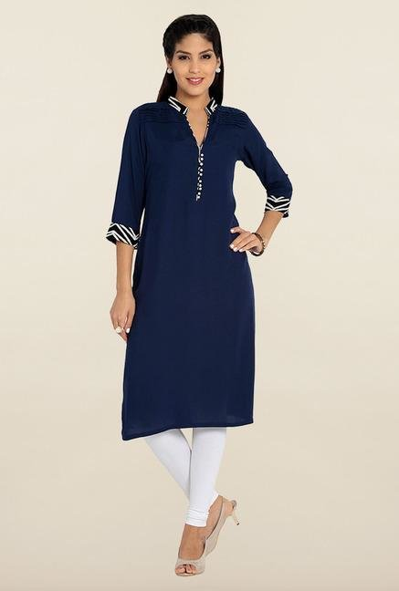 Soch Dark Blue Solid Kurta