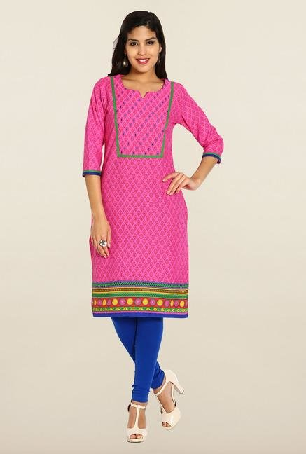 Soch Pink Cotton Printed Kurta