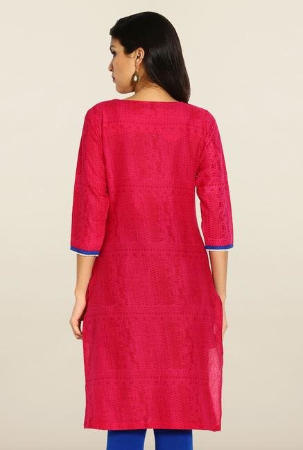 Soch Pink & Royal Blue Cotton Kurta