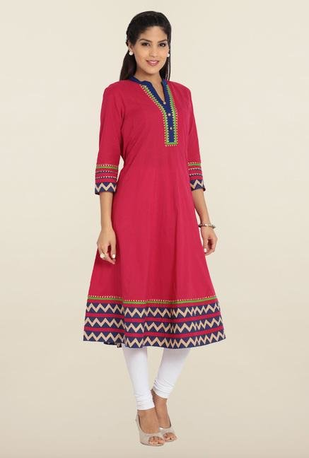 Soch Dark Pink Cotton Anarkali Kurta