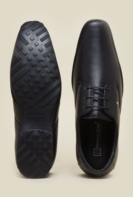 Franco Leone Black Leather Formal Shoes