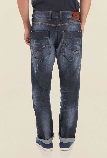 Jack & Jones Blue Distressed Mid Rise Jeans