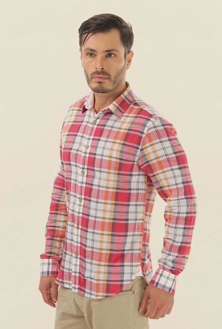 Jack & Jones Pink Checks Cotton Casual Shirt