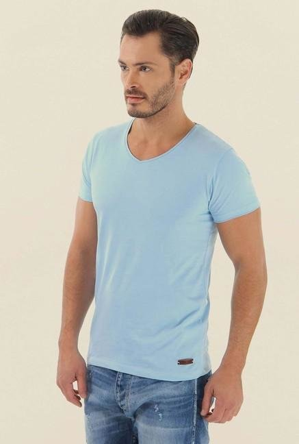 Jack & Jones Blue Solid V-Neck T-Shirt