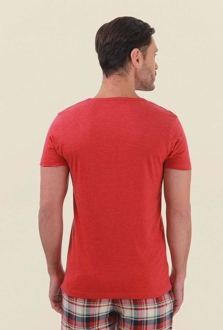 Jack & Jones Red Solid V-Neck T-Shirt