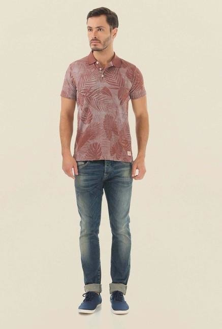 Jack & Jones Brown Printed Polo T-Shirt