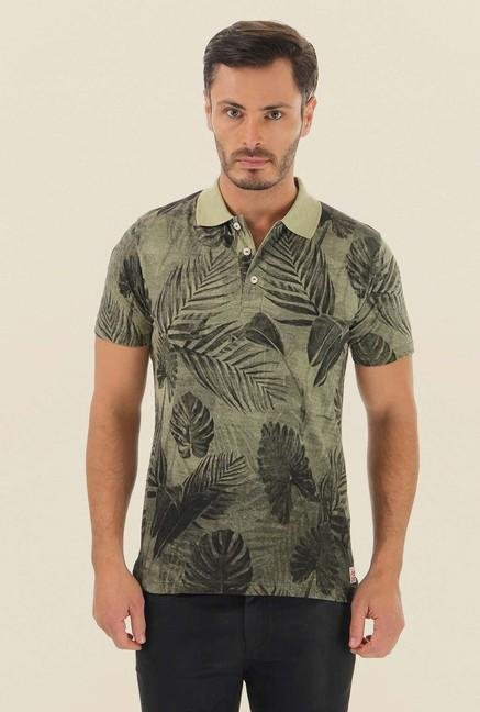 Jack & Jones Olive Printed Polo T-Shirt