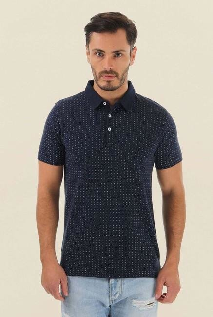 Jack & Jones Navy Printed Polo T-Shirt