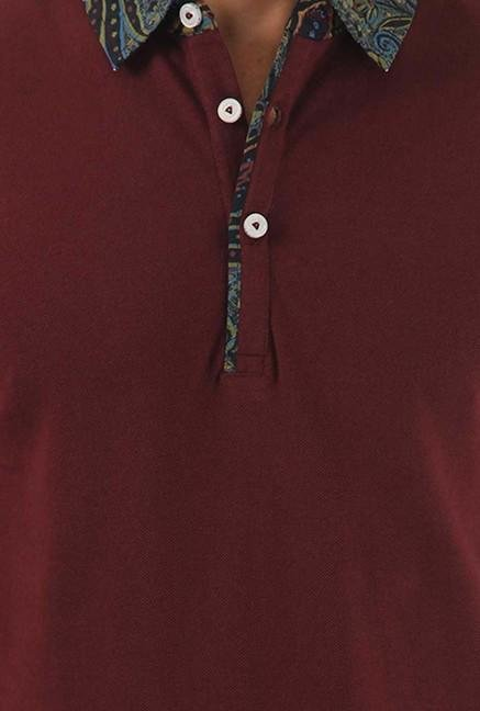 Jack & Jones Maroon Solid Polo T-Shirt