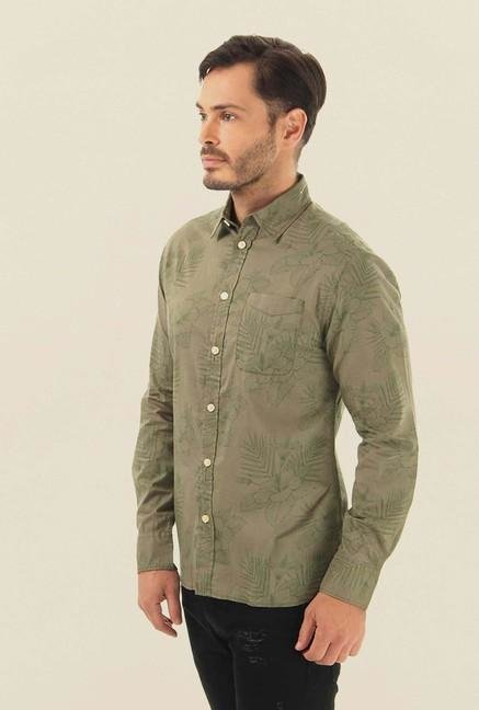 Jack & Jones Green Printed Casual Shirt