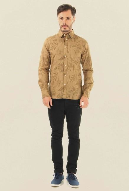 Jack & Jones Khaki Printed Casual Shirt