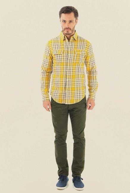 Jack & Jones Yellow Checks Casual Shirt