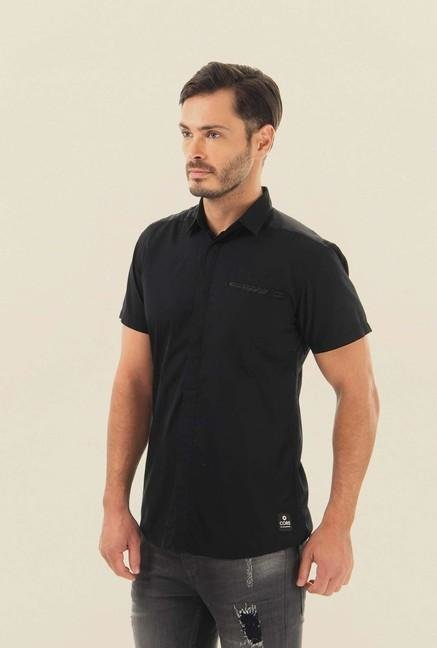 Jack & Jones Black Solid Half Sleeves Casual Shirt