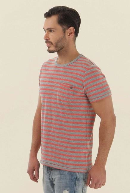 Jack & Jones Light Grey Striped Crew Neck T-Shirt