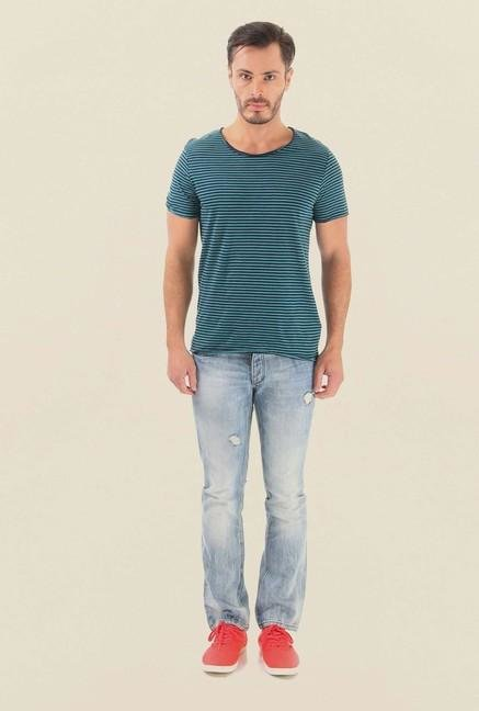 Jack & Jones Sea Green Striped T-Shirt