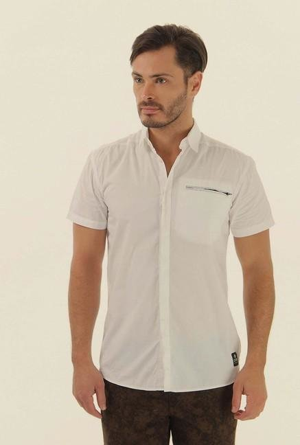 Jack & Jones White Solid Half Sleeves Casual Shirt
