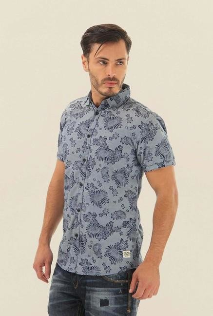 Jack & Jones Blue Printed Half Sleeves Casual Shirt
