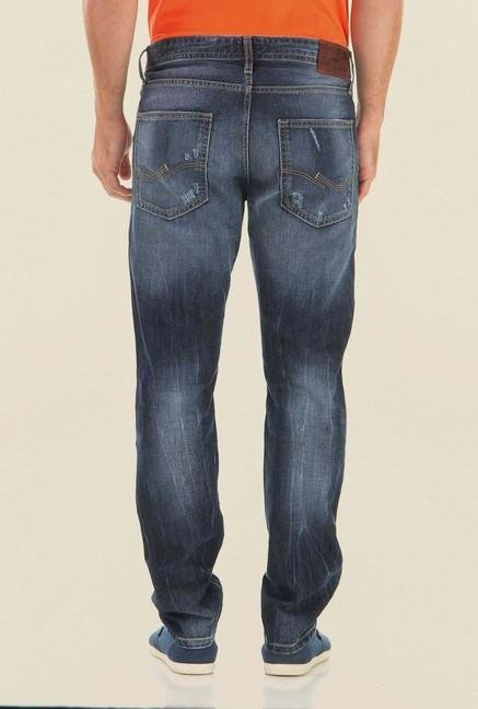 Jack & Jones Dark Blue Mid Rise Distressed Jeans