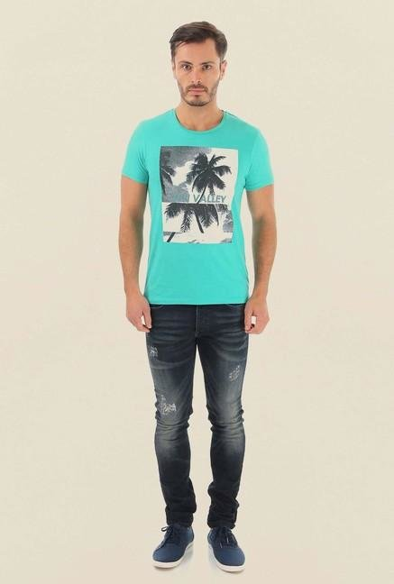 Jack & Jones Aqua Blue Printed Crew Neck T-Shirt