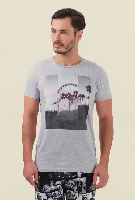 Jack & Jones Light Grey Printed Crew Neck T-Shirt
