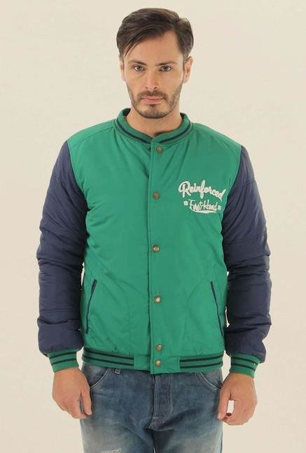 Jack & Jones Green Solid Casual Jacket