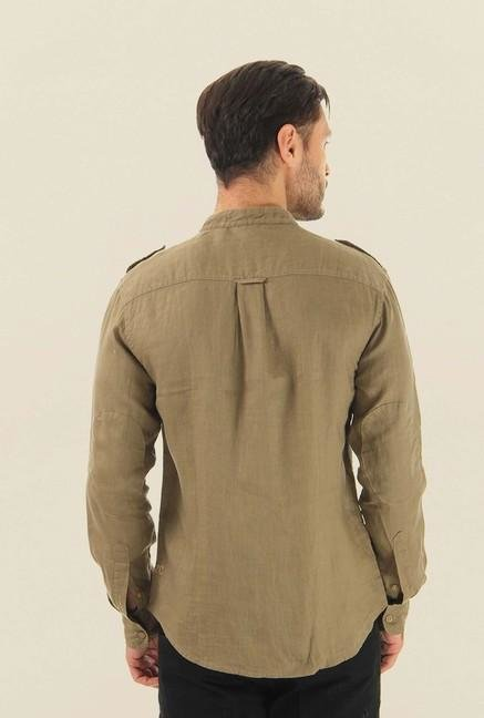 Jack & Jones Khaki Solid Casual Shirt