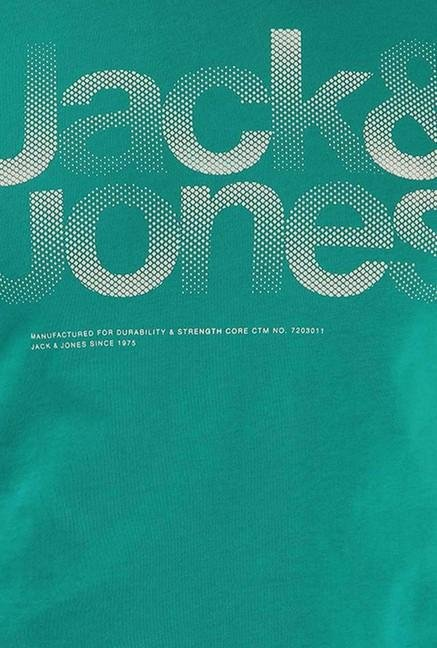 Jack & Jones Turquoise Printed Crew Neck T-Shirt