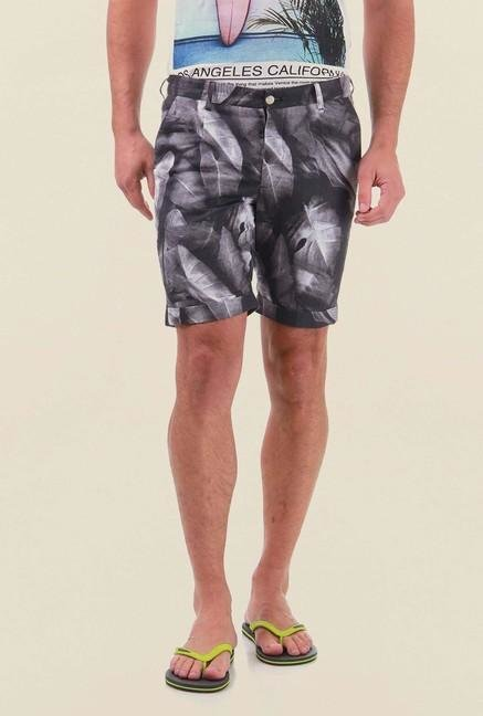 Jack & Jones Black Printed Casual Shorts