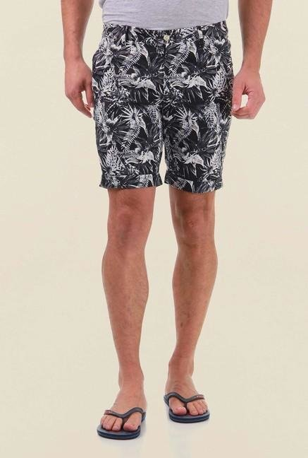 Jack & Jones Black Printed Cotton Shorts