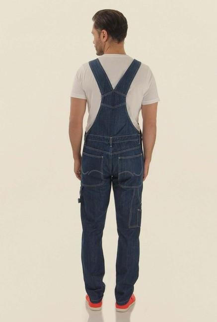 Jack & Jones Blue Solid Dungaree