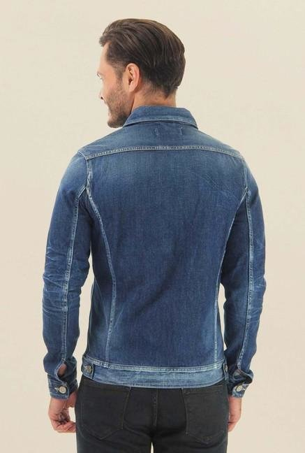 Jack & Jones Blue Denim Solid Casual Jacket