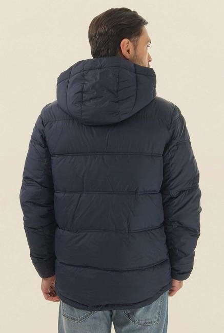 Jack & Jones Navy Blue Solid Quilted Jacket