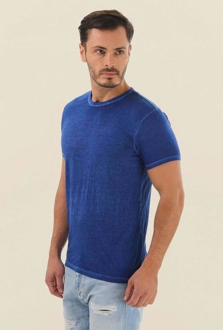 Jack & Jones Blue Solid Crew Neck T-Shirt