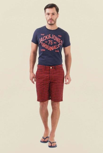 Jack & Jones Navy Red & Blue Checks Shorts