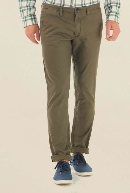 Jack & Jones Olive Cotton Chinos